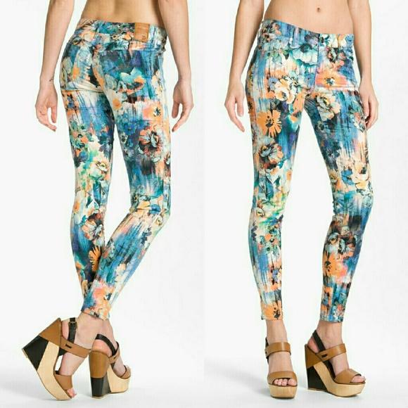 Dylan George Denim - 🎉SALE Dylan George Floral Watercolor Skinny Jeans